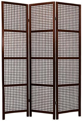 Oriental Furniture 6' Tall Miyagi Shoji Screen, 3 Panel, Walnut