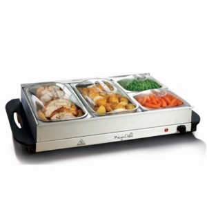 Mega Chef MegaChef Buffet Server, Food Warmer with 4 Removable Sectional Trays, Heated Warming Tray and Removable Tray Frame