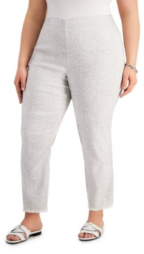 Alfani Plus Size Printed Fringed-Hem Ankle Pants, Created for Macy's