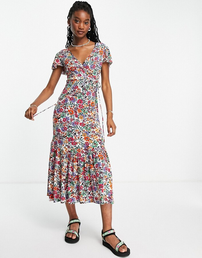 Thumbnail for your product : Qed London flutter sleeve midaxi wrap dress in multi floral print