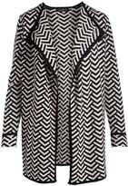 August Silk Black Chevron Double-Knit Jacquard Open Cardigan