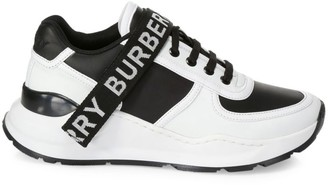 Burberry Ronnie Logo-Strap Leather Sneakers