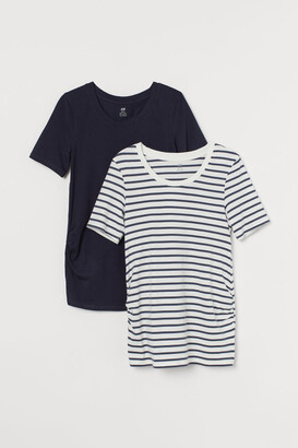 H&M MAMA 2-pack Jersey Tops - Blue