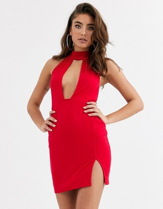 Asos Design DESIGN going out deep plunge mini dress