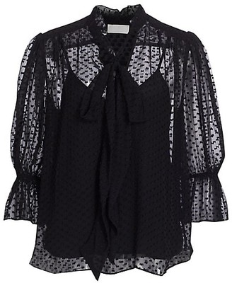 7 For All Mankind Flared Puff-Sleeve Neck Tie Blouse