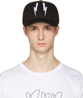 Neil Barrett Black Neoprene Thunderbolt Cap