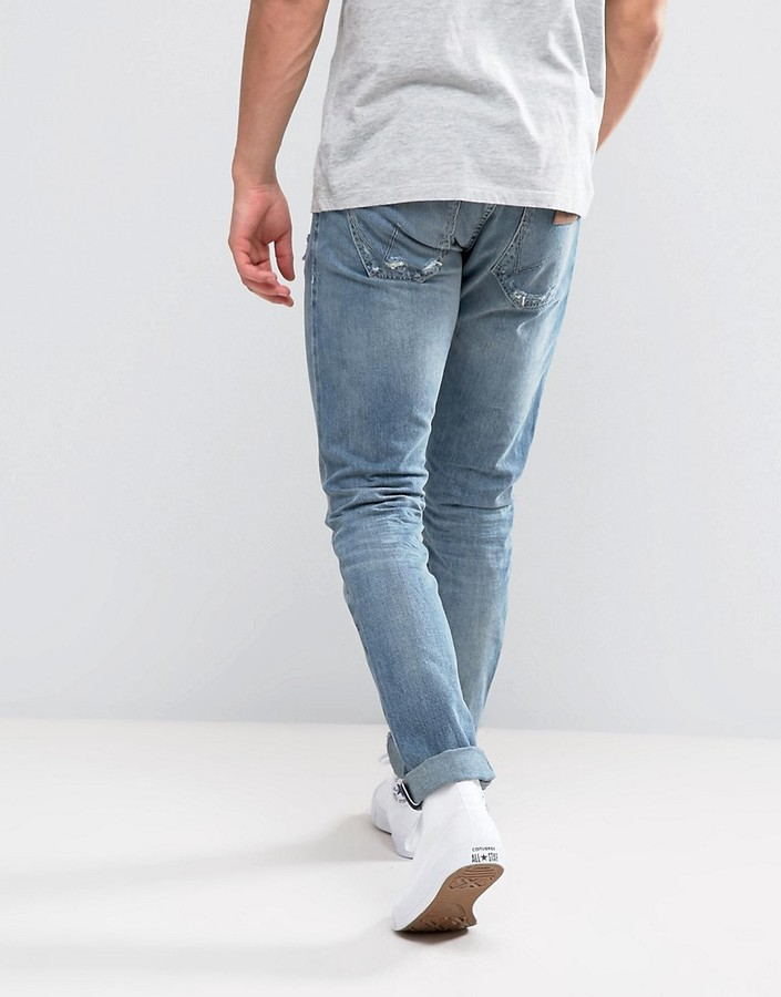 Wrangler Larston Slim Stretch Jeans Ripped Selvedge Wash