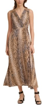 Calvin Klein Petite Snake-Embossed Maxi Dress