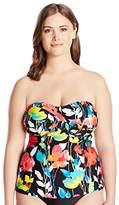 Anne Cole Women's Plus Size Growing Floral Twist Front Tankini
