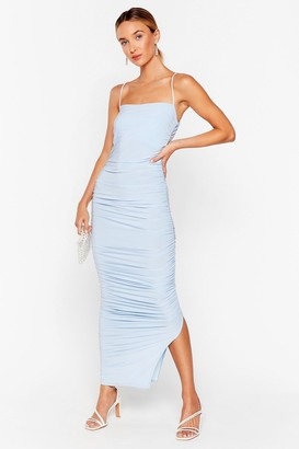 Nasty Gal Womens Only Fools Ruche In Midi Dress - Sky