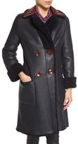 Diane von Furstenberg Grayson Reversible Mouton Fur & Leather Coat, Royal Navy/Red Onyx