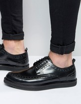 Asos Brothel Creepers in Black Leather With Brogue Detailing