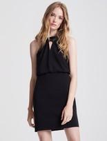 Halston Satin Insert Crepe Mini Dress