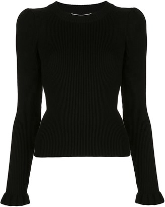 Milly Ribbed Knit Ruffle Trim Jumper
