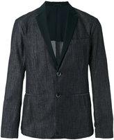 Emporio Armani faille-trimmed denim blazer - men - Cotton/Polyester - L