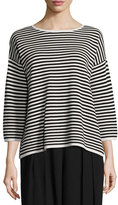 Eileen Fisher Striped 3/4-Sleeve Interlock Top, Bone/Black, Plus Size