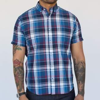 Blade + Blue Navy Blue, Red & White Plaid Short Sleeve Shirt - SAMMY