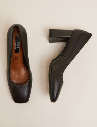 Marks and Spencer Leather Block Heel Square Toe Court Shoes