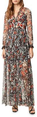 French Connection Floral-Embroidered Lace-Trimmed Maxi Dress