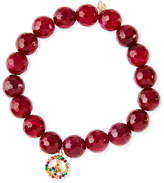 Sydney Evan 10mm Red Agate Beaded Bracelet with Rainbow Sapphire Peace Charm