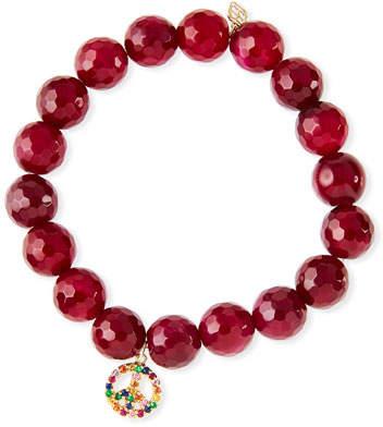 Sydney Evan 10mm Red Agate Beaded Bracelet with Rainbow Sapphire Peace Charm