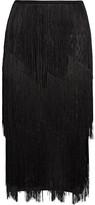 Tom Ford Fringed Stretch Ribbed-knit Midi Skirt - Black