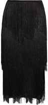 Tom Ford Fringed Stretch Ribbed-knit Midi Skirt - small