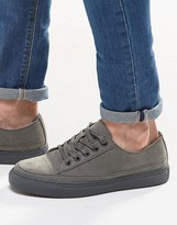 Asos Trainers In Grey Faux Suede With Toe Cap