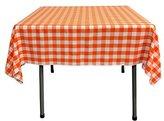 LA Linen Poly Checkered Square Tablecloth, 52 by 52-Inch, Orange/White