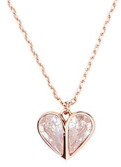 Kate Spade Women's Rose Goldplated & Sparkling Stone Heart Pendant Necklace