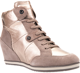 Geox Illusion Wedge Heeled Lace Up Trainers, Champagne Leather