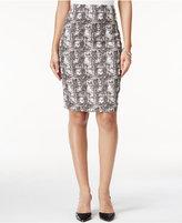 Kasper Printed Jacquard Pencil Skirt