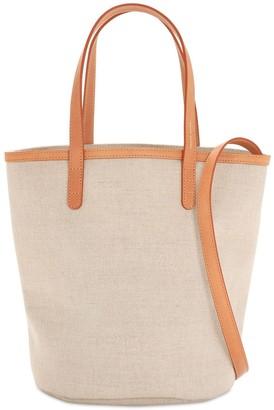 Mansur Gavriel Mini Circle Leather & Canvas Bucket Bag