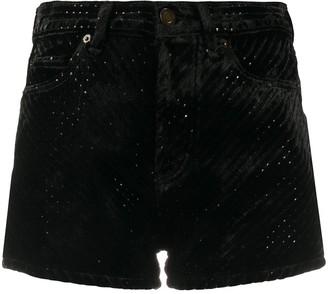 Saint Laurent Sequined Devore Velvet Shorts