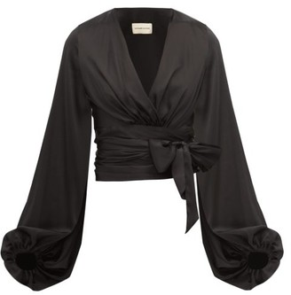 Alexandre Vauthier Balloon-sleeve Silk-blend Satin Wrap Top - Womens - Black