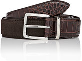 Barneys New York Men's Croc-Stamped Leather & Suede Belt-BROWN