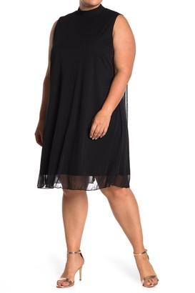 Tash + Sophie Mock Neck Chiffon Shift Dress (Plus Size)