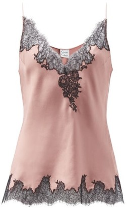 Carine Gilson V-neck Lace-trimmed Silk-satin Camisole - Light Brown