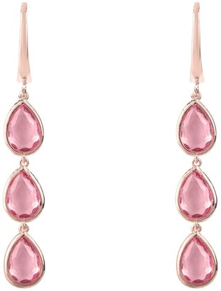 Rosegold Latelita Sorrento Triple Drop Earring Pink Tourmaline