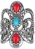 American West Sterling Turquoise & Coral Ring