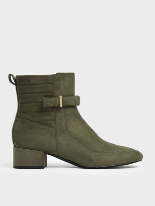 Charles & Keith Textured Zip-Up Chunky Heel Ankle Boots