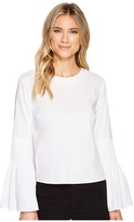 Catherine Malandrino Scoop Neck Tunic with Smocked Bell Sleeve Women's Clothing