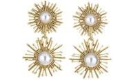 Oscar de la Renta Pearl Sun Star Earrings