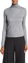See by Chloe Long-Sleeve Turtleneck Chiffon-Back Top, Gray