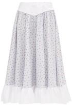 Batsheva Ruffled Floral-print Cotton Midi Skirt - Womens - Light Blue