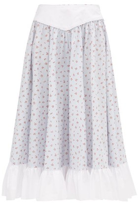 Batsheva Ruffled Floral-print Cotton Midi Skirt - Womens - Light Blue