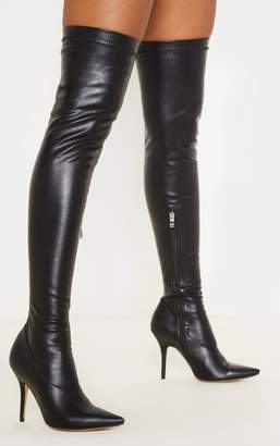 PrettyLittleThing Black PU Thigh High Sock Boot