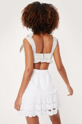 Nasty Gal Womens Broderie Anglaise Scalloped Hem Mini Skirt - White - 4