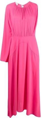 Stella McCartney One-Sleeve Gathered Maxi-Dress