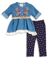 Little Lass Little Girl's Floral Embroidered Denim Tunic and Leggings Set